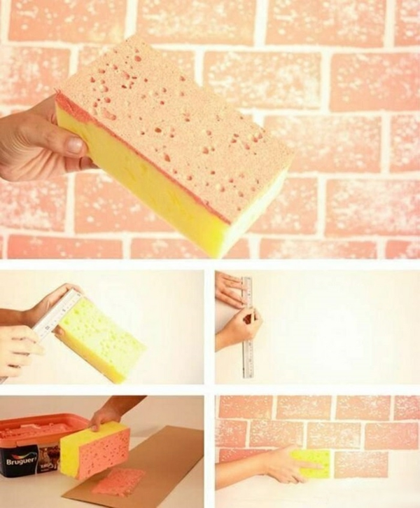 technique peinture à l'éponge effet briques