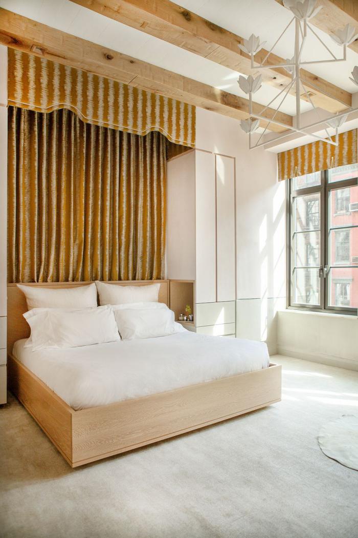 tendance chambre à coucher 2019 rideau derrière le lit