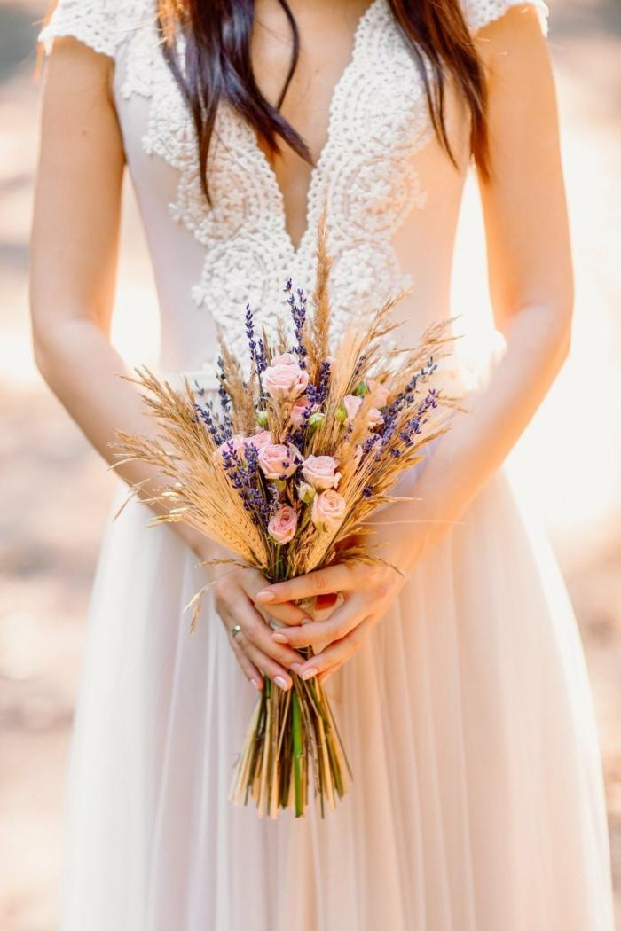 épis de blé bouquet de mariée champêtre avec lavande