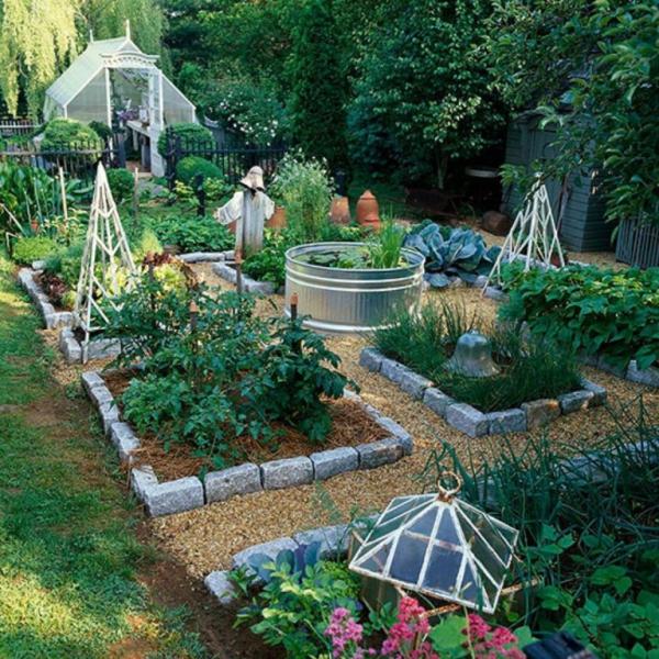 aménagement jardin paysager blocs de plantes