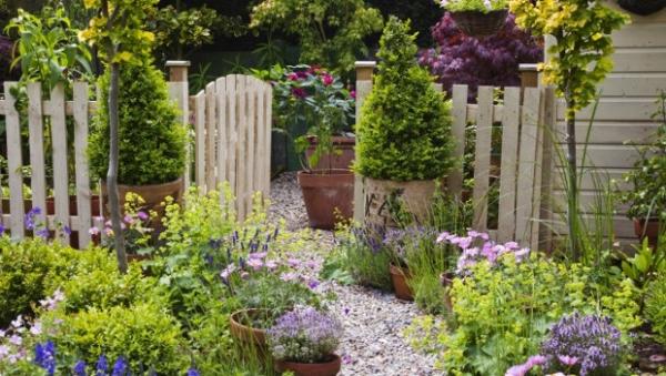 aménagement jardin paysager chemin de gravier