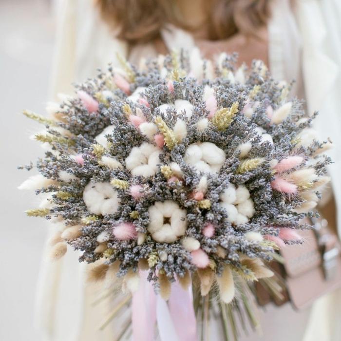 bouquet de mariée champêtre branches de coton
