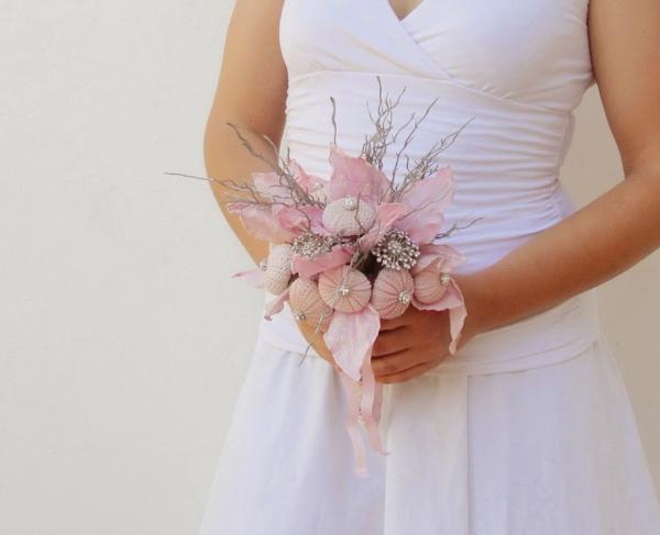 bouquet de mariée diy avec des oursins