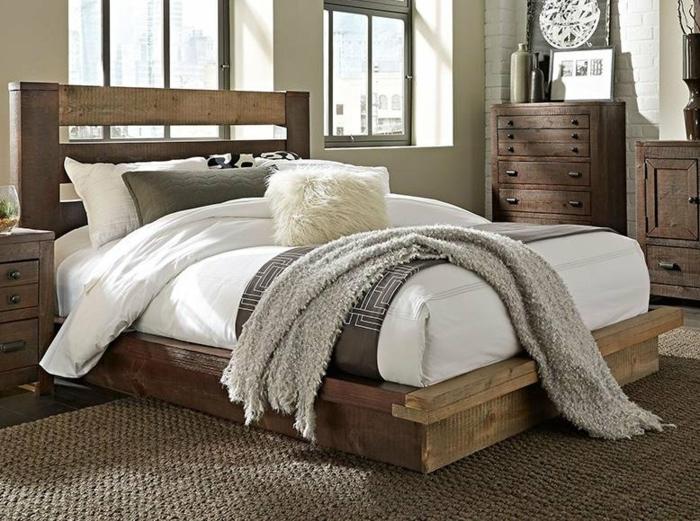 chambre cocooning adulte lit en bois brut