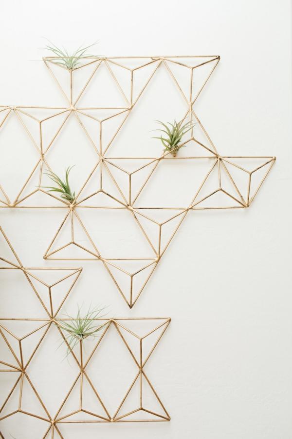 déco murale géométrique métal plantes Tillandsia