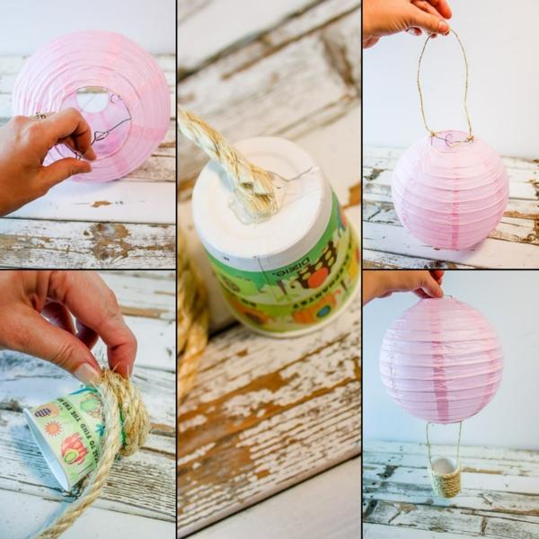 diy déco ballon volant avec lanterne chinoise corde et tasse en papier