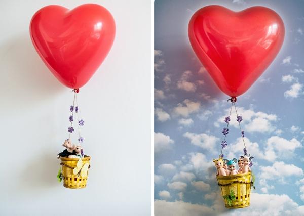 diy déco ballon volant en ballon gonflable coeur