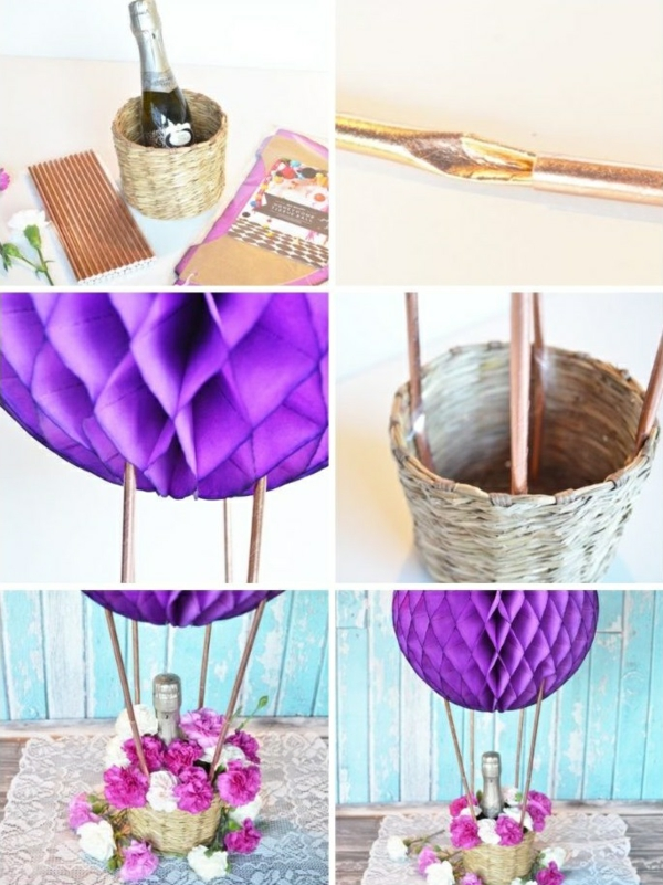 diy déco de table ballon volant en papier