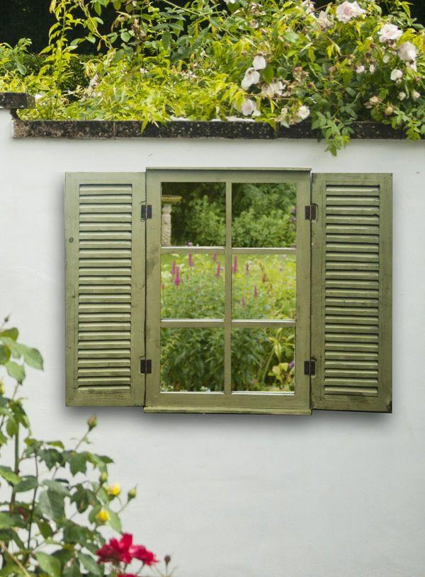diy miroir pour clôture de jardin en volet fenêtre