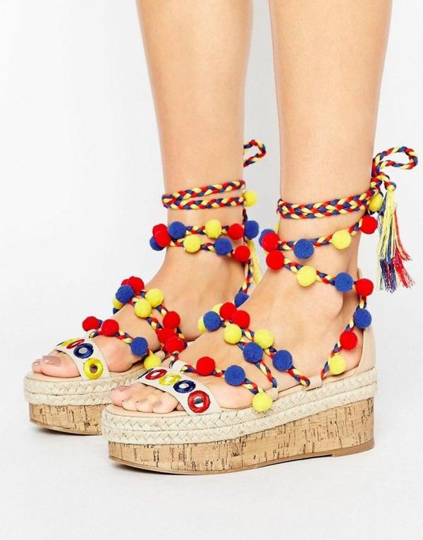 diy sandales pompon et cordelette à plateforme femme