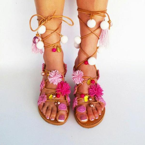 diy sandales pompon fil coloré perles pour femme