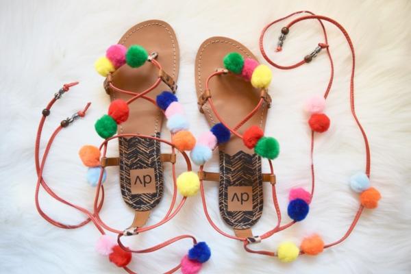 diy sandales pompon gladiateur femme