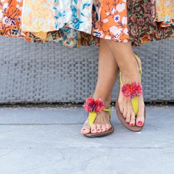 diy sandales pompon raphia femme