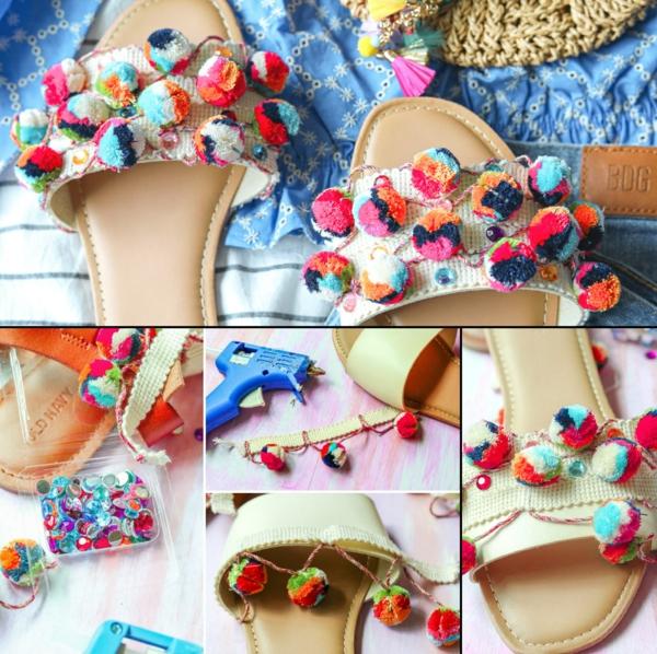 diy sandales pompon ruban femme