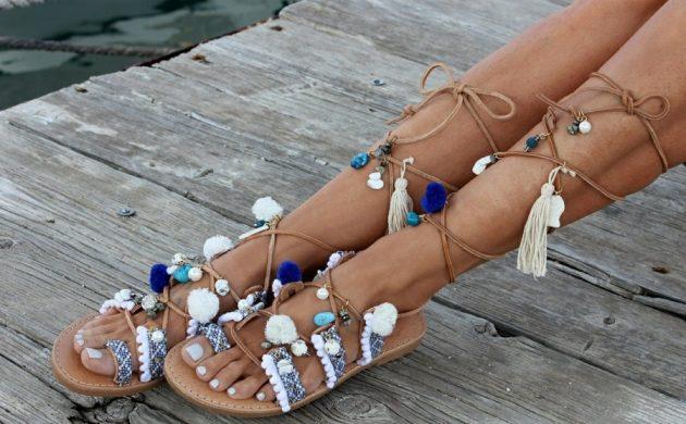 diy sandales pompon