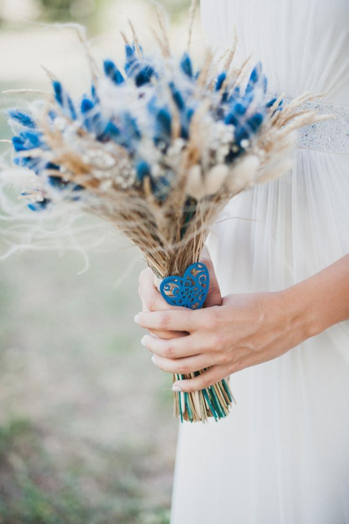 fleurs séchées bouquet de mariée champêtre épis de blé