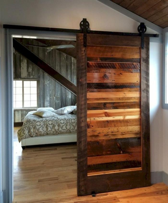 idée portes coulissantes bois brut