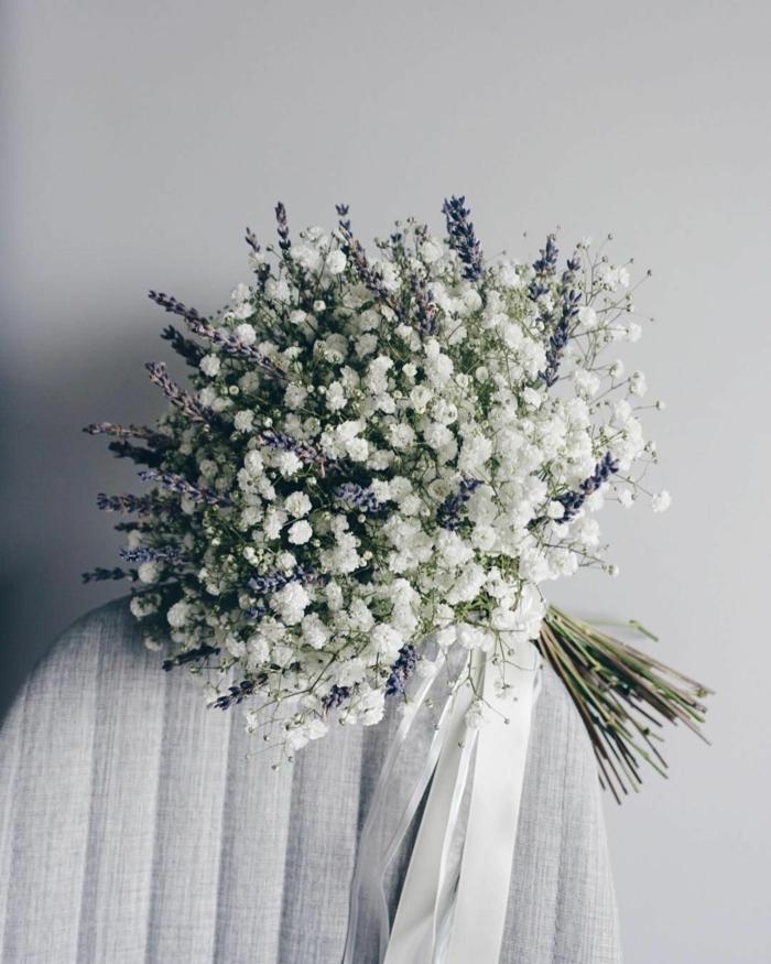 lavande et gypsophile bouquet de mariée champêtre