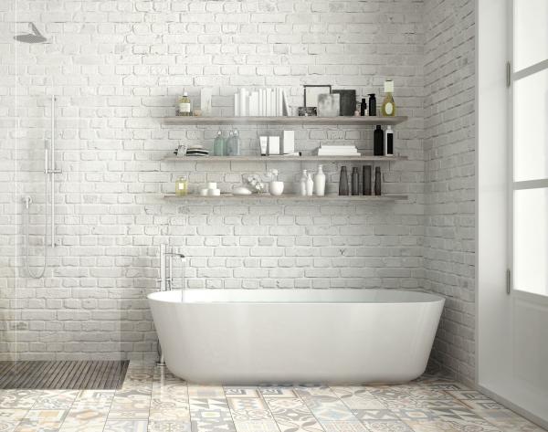 le carrelage salle de bain briques blanches au mur