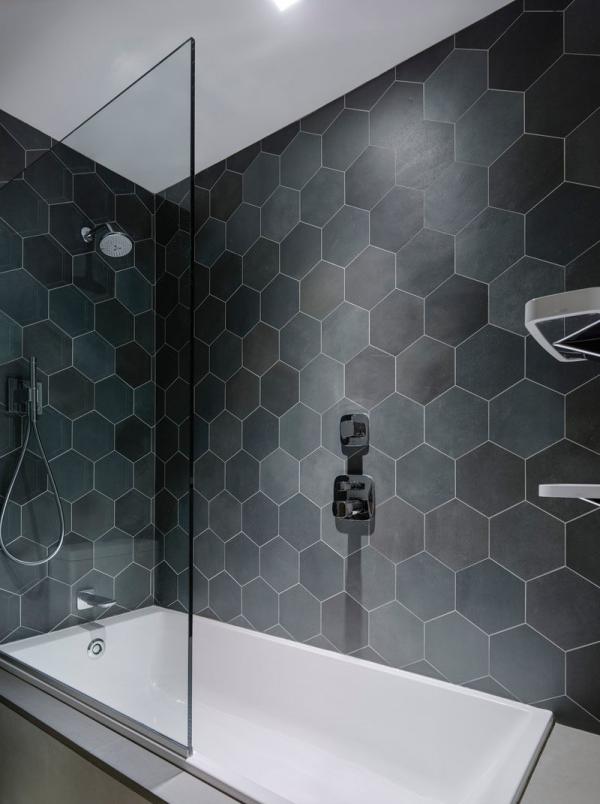 le carrelage salle de bain des hexagones