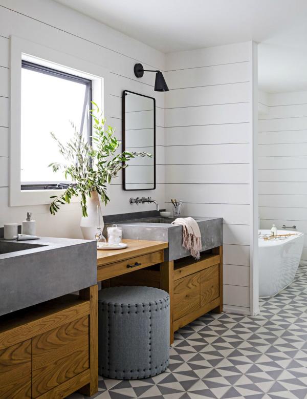 le carrelage salle de bain en blanc et gris