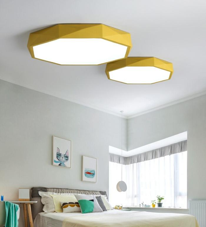 lumeers Plafonnier LED octogone coloré très fin Balcony luminaire design