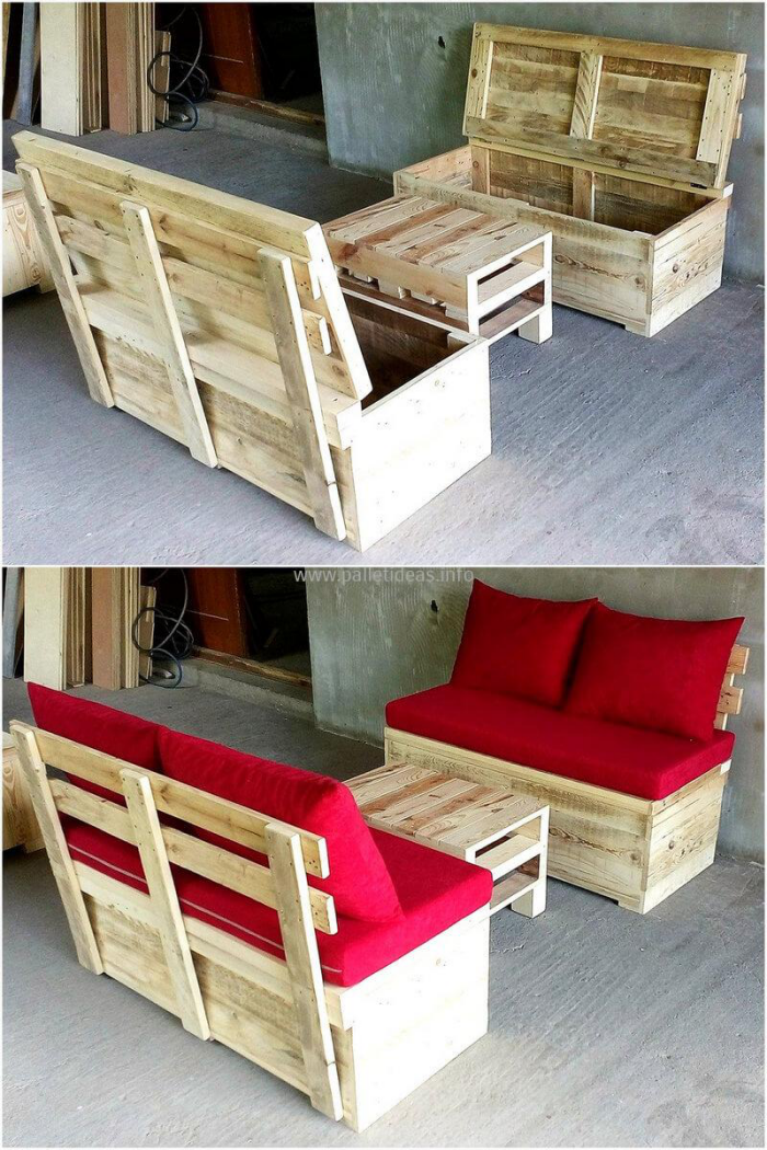 meubles en palette avant et après