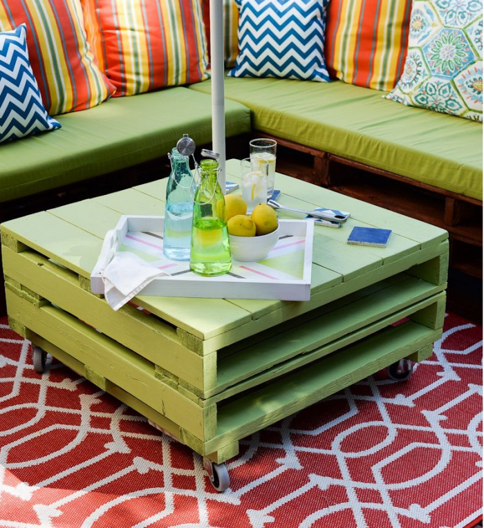 meubles en palette coussins à chevrons