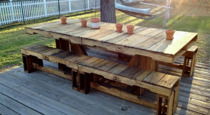 meubles en palette table et bancs