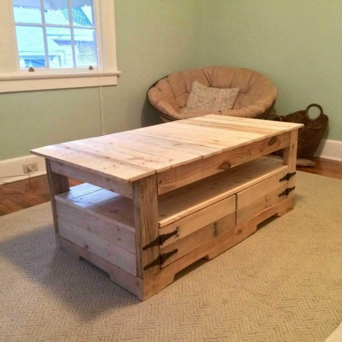 meubles en palette tiroirs au-dessous
