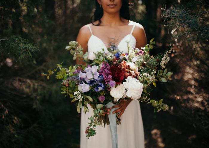 note colorée bouquet de mariée champêtre