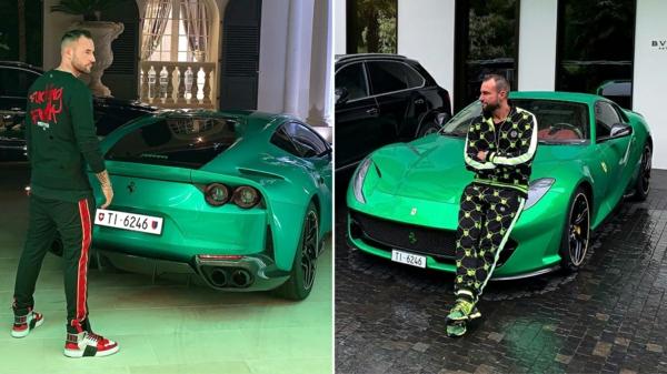 philipp plein et son automobile ferrari verte