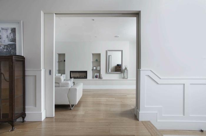 portes coulissantes à galandage en blanc