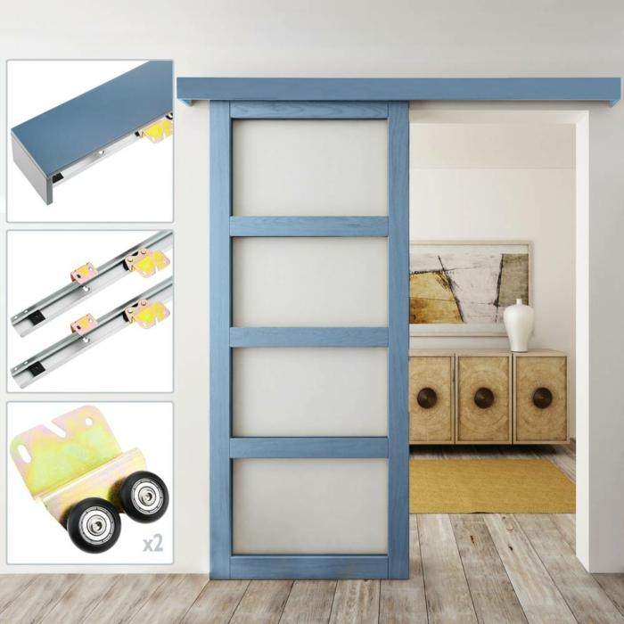 portes coulissantes modèle en applique en bois et verre