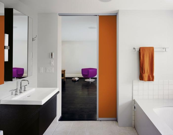 portes coulissantes modèle en orange