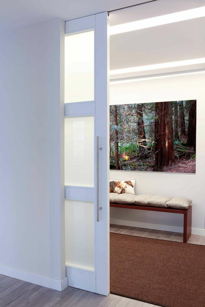 portes coulissantes modèle en verre et bois blanc