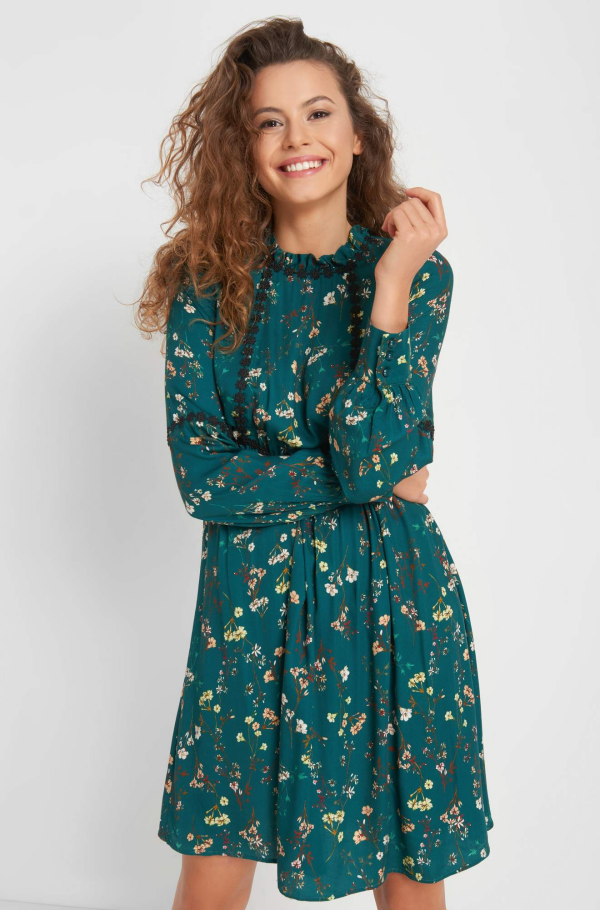 robe élégante automne 2019 vert canard