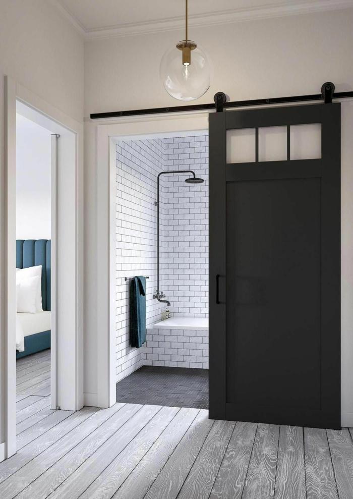 séparer salle de bains portes coulissantes