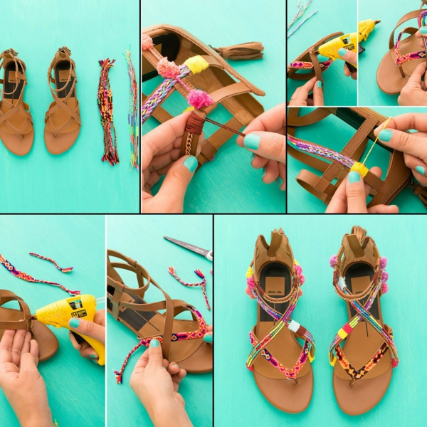 sandales pompon à fabriquer soi-même cordelettes