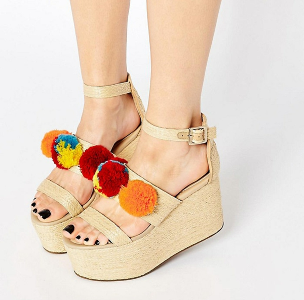 sandales pompon à plateforme diy pour femme