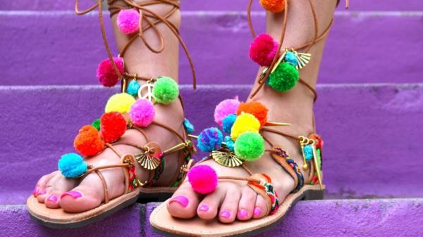 sandales pompon éthniques pour femme diy