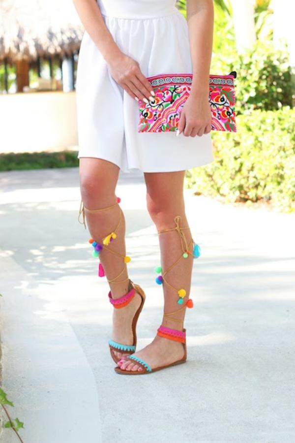 sandales pompon diy pour femme glands colorés