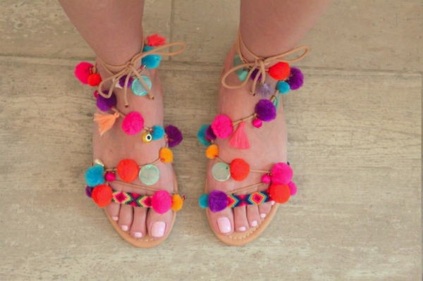 sandales pompon diy pour femme glands pompons cordelettes
