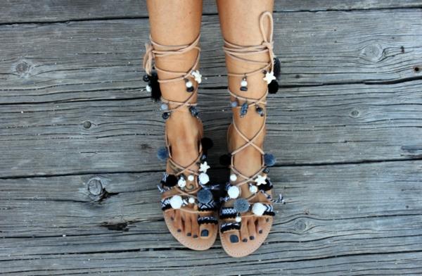 sandales pompon diy pour femme perles décoratives cordelettes colorées