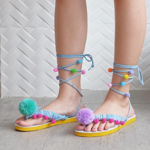 sandales pompon diy pour femme pompons cordelette
