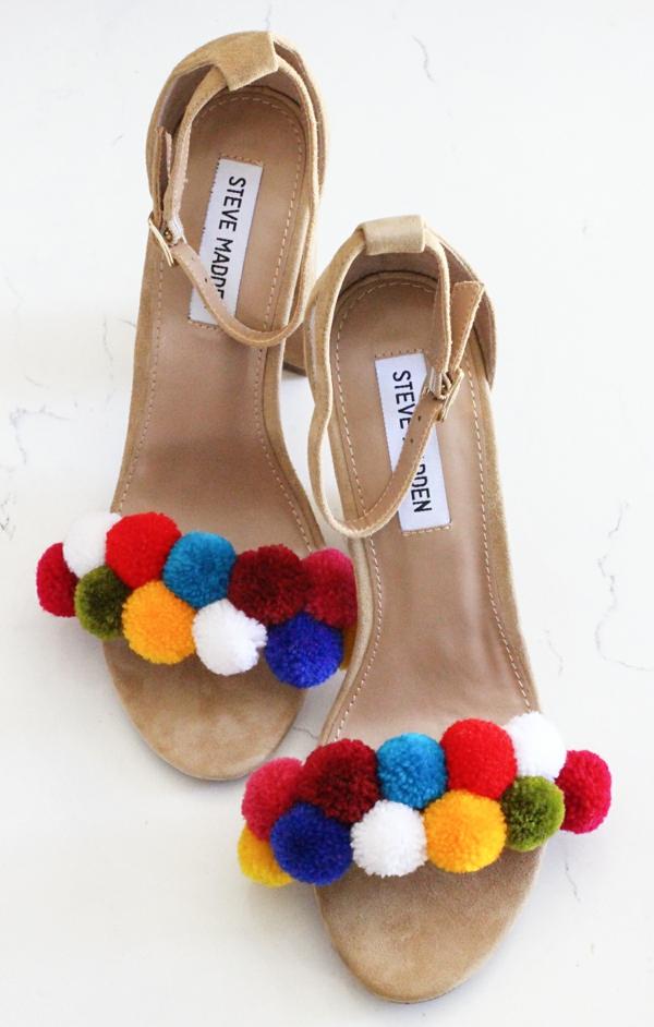 sandales pompon diy pour femme velours pompons