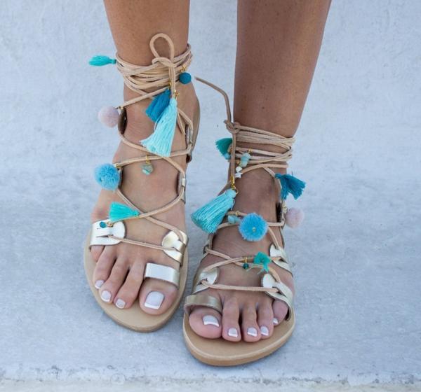 sandales pompon et glands pour femme diy