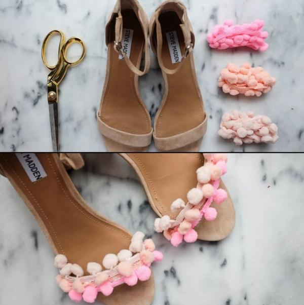 sandales pompon femme à fabriquer pour l'été