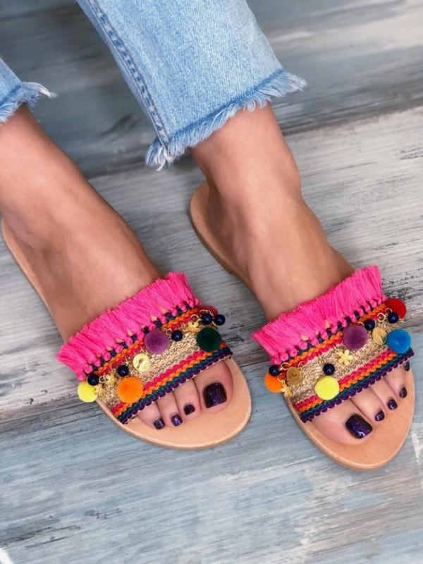 sandales pompon plates diy femme