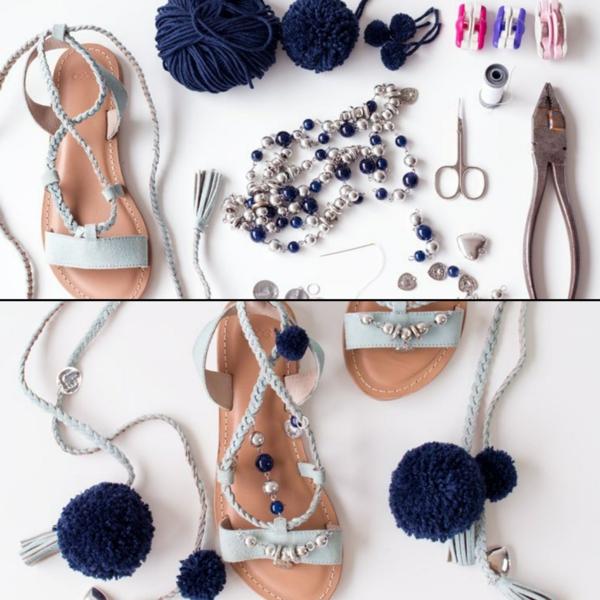 sandales pompon pour femme à faire soi-même
